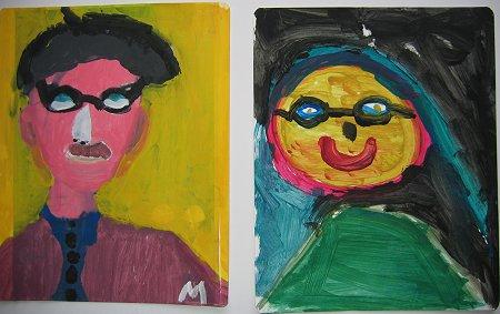 Portraits rêvés réalisés à la gouache